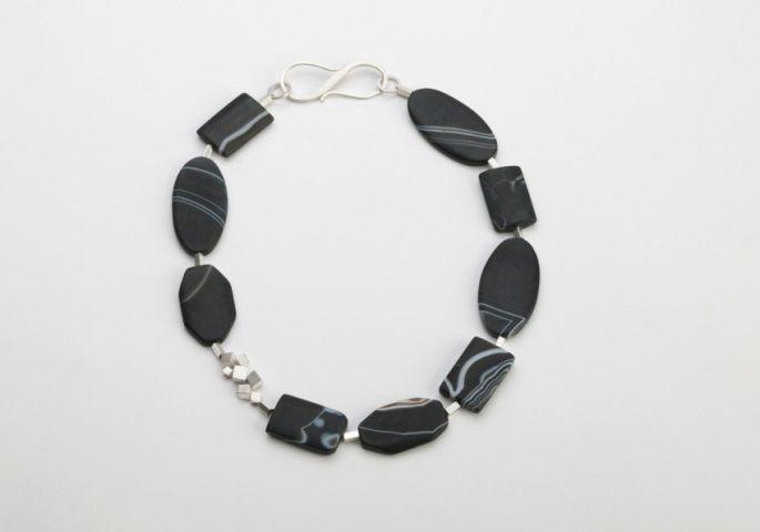 Striped black necklace